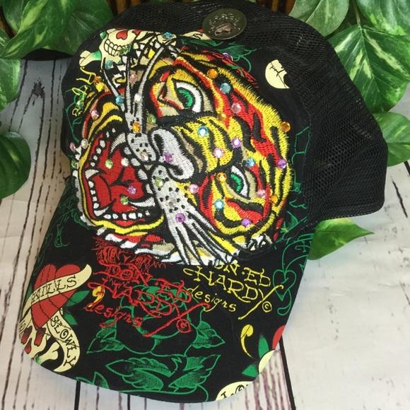 a732ad44a2c EUC Ed Hardy Bling Tiger Trucker Hat Black OS